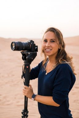 Justina filming in the desert